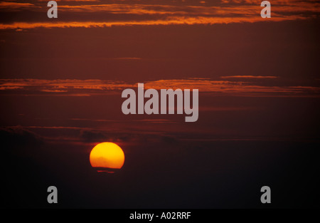 France provence from canaille cape a colorful red sky and the sun corona at sunset - Stock Photo