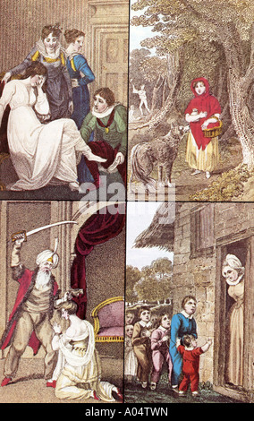 FAIRY TALES - Cinderella, Red Ridinghood, Bluebeard and Hop o' My Thumb in an 1804 book - see Description below - Stock Photo