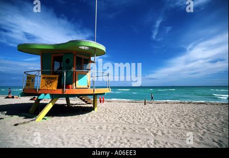 Lifeguard Post South Beach Miami - Stock Photo
