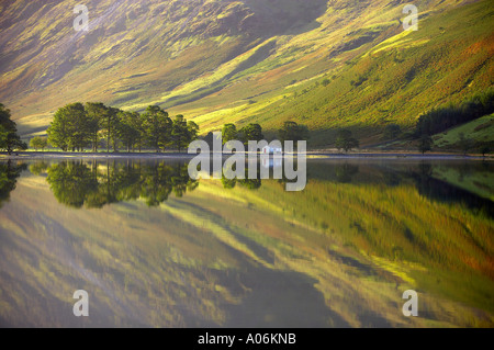 reflections on the shore of Buttermere at dawn Cumbria Lakes District Cumbria England UK - Stockfoto