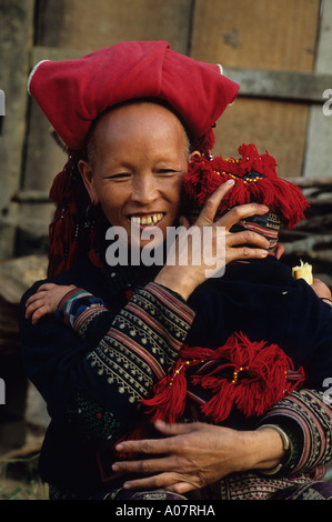Red Hmong Woman Sapa Vietnam - Stock Photo