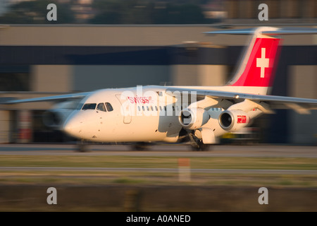 Swiss International Air Lines British Aerospace Avro RJ 100 146 RJ100 at London City UK - Stock Photo
