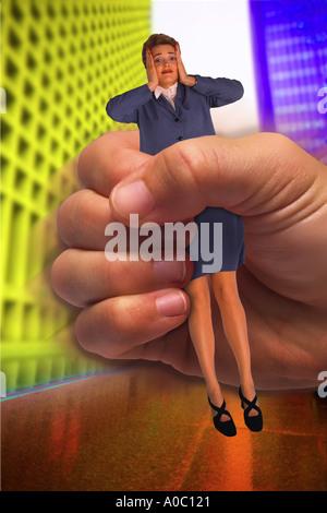 Businesswoman held by hand - Stockfoto
