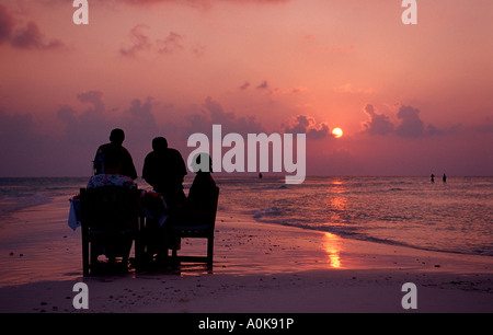 Romantic Dinner at Beach Indian Ocean Maldives Island - Stock Photo