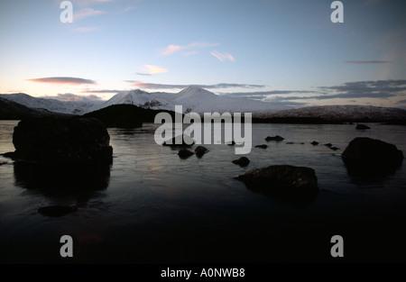 PICTURE CREDIT DOUG BLANE Winter sunset over scenic Ranoch Moor lake Glen Coe Scotland United Kingdom Great Britain - Stock Photo