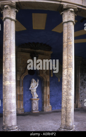 Statue niche and columns at Portmeirion in Gwynedd Wales number 2260 - Stock Photo