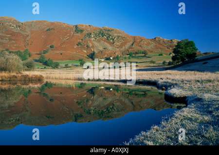 Frosty autumn morning Langdale Tarn and Lingmoor Fell Little Langdale Lake District Cumbria England United Kingdom - Stock Photo