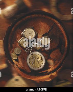 still life of broken watches time flies - Stock Photo