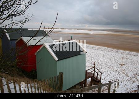 Snow on beach, Wells-next-the-Sea - Stock Photo