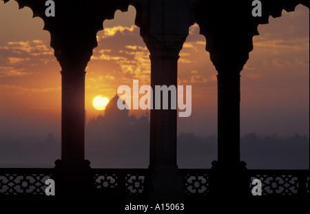 Sunrise over Taj Mahal from Agra Fort Agra India - Stock Photo