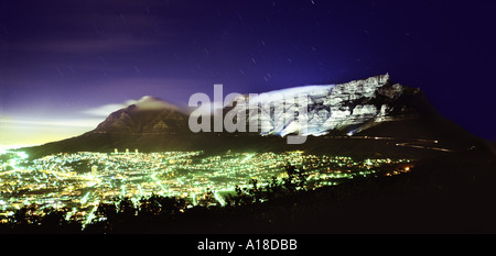 Cape Town at night backed by floodlit Table Mountain South Africa - Stock Photo