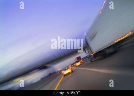 Cars Trucks & Lorries Speeding On Highway, USA - Stock Photo