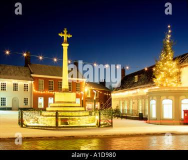 Fakenham Norfolk UK by night at Christmastime england united kingdom britain british europe eu - Stock Photo