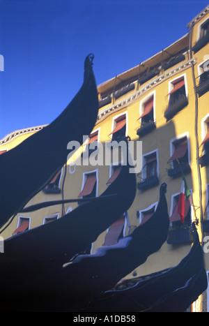 Italy Venice Gondolas reflecting in Bacino Orseolo - Stock Photo