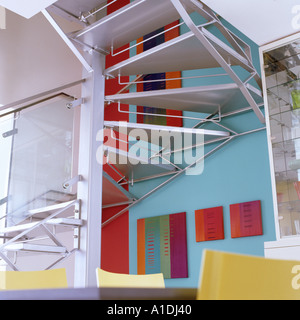 Metal stairs in modern apartment - Stock Photo