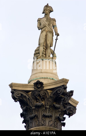Nelson s Column monument to Admiral Lord Nelson in Trafalgar Square London United Kingdom - Stock Photo