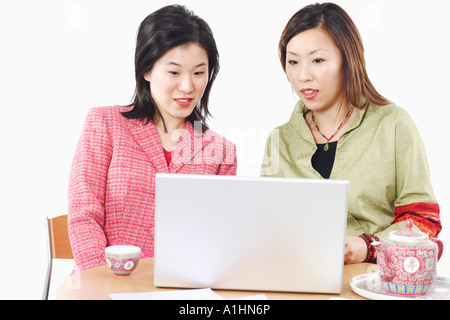 Close-up of two businesswomen using a laptop - Stockfoto
