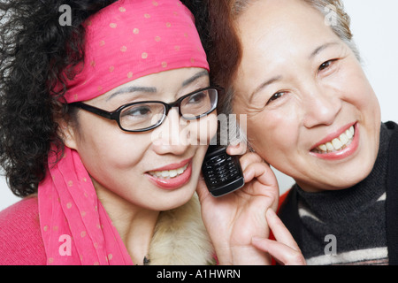Portrait of a mature woman with her friends using a mobile phone - Stock Photo