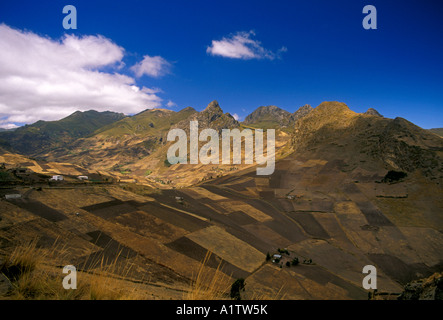 Agricultural fields near Zumbahua Cotopaxi Province Ecuador South America - Stock Photo