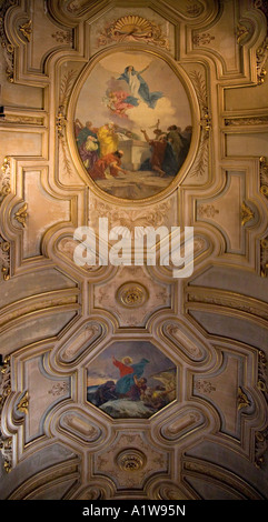 One of the ornate Ceiling Paintings of the Catedral Metropolitana, Santiago, Chile - Stock Photo