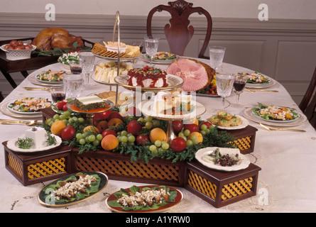 family gathering Sunday Holiday style formal dinner table setting arrangement - Stock Photo & family gathering Sunday Holiday style formal dinner table setting ...