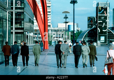 'Paris France', 'La Défense Business Center' 'Business Men' Walking in Line 'Street Scene' 'Business Travel' Day - Stock Photo