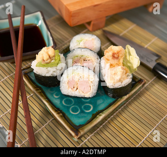 maki with tuna in tempura - Stock Photo