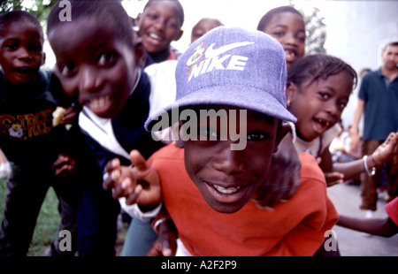 Young children on an estate in the French banlieue - Stock Photo