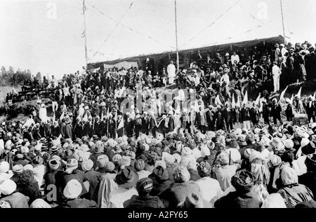 At a farewell meeting where he was called Mahatma Great Soul for the first time South Africa July 1914 - Stockfoto