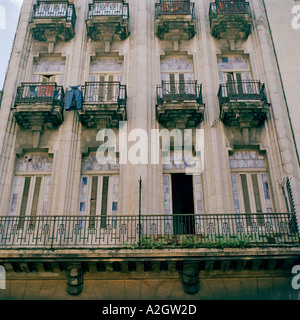 Architecture World Cities. The beautiful art nouveau buildings of the city of Havana in Cuba in Central Latin America. - Stock Photo