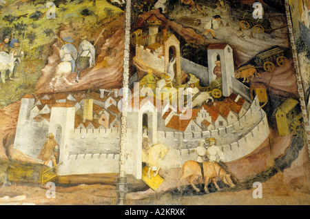 Ciclo dei Mesi fresco Torre dell Aquila Buonconsiglio castle Trento Trentino Alto Adige Italy - Stock Photo