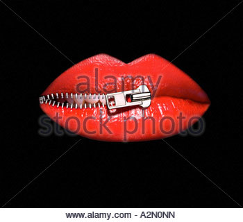 Graphic symbolism image of a woman's lips being zipped shut. - Stock Photo