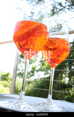 Close-up of two glasses of cocktails - Stock Photo