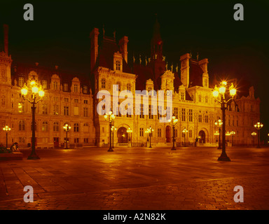 Buildings lit up at night, Hotel De Ville, Paris, Ile-de-France, France - Stock Photo