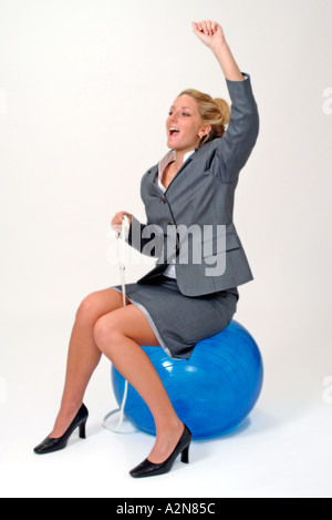 Businesswoman in business suit on white background - Stockfoto