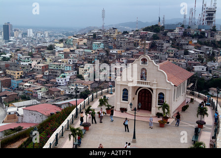 Rajas dionisos Church from Cerro Santa Ana in Guayaquil - Stock Photo
