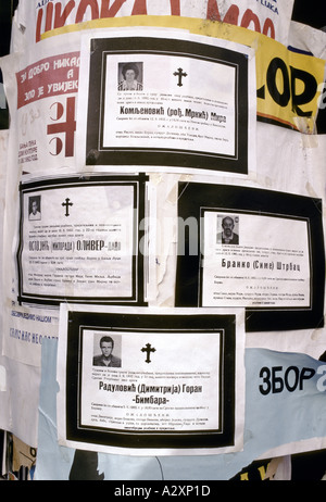 Banja Luka - death notices are pinned up in public places of people who have died in the civil war, Sept 1992 - Stock Photo