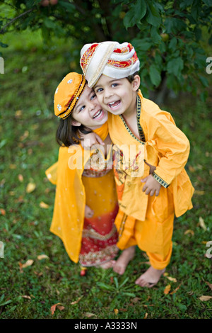Children wearing Indian clothes - Stock Photo