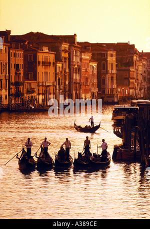 Gondolas on Grand Canal Venice Italy Europe - Stock Photo