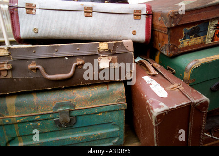 Victorian luggage stacked on a trolley at a train station, Vale Of Glamorgan, Barry Island Railway Station, Wales, - Stock Photo