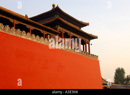 Fortress wall, , Forbidden City, Beijing China - Stock Photo