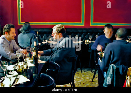 PARIS, France, Male Adults, Sharing Meals at Tables inside Contemporary provincial French Restaurant - Stock Photo
