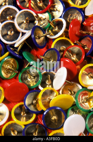 colored drawing pins - Stock Photo