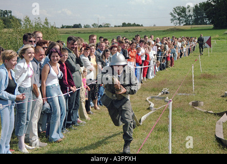 Fire fighters tournament in Kaweczyn, Poland - Stock Photo