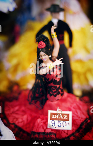 Figurines of Spanish dancers Seville Andalusia Spain - Stock Photo