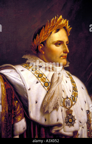 Napoleon Bonaparte portrait shown at Napoleon s house maison Bonaprte in his birth place city Ajaccio Corsica Island - Stock Photo