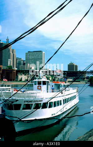 Mississippi tour boat against downtown skyline. St Paul Minnesota MN USA - Stock Photo