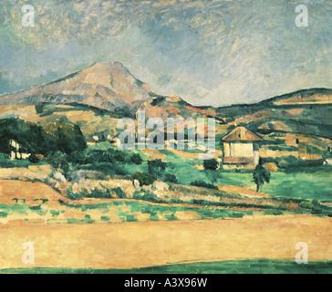 'fine arts, Cezanne, Paul, (1839 - 1906), painting, 'La Montagne Sainte-Victoire', ('view at Mont Sainte-Victoire'), - Stock Photo