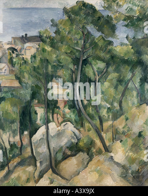 'fine arts, Cezanne, Paul, (1839 - 1906), painting, 'view at the sea near L` Estaque', State Gallery, Karlsruhe, - Stock Photo