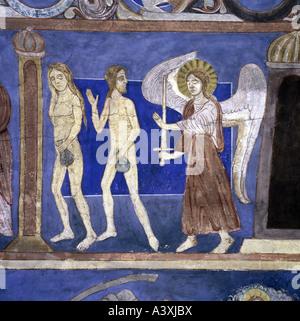 fine arts, religious art, Adam and Eve, expulsion from paradise, painting, fresco, 13th century, church of Bjäresjö, - Stock Photo